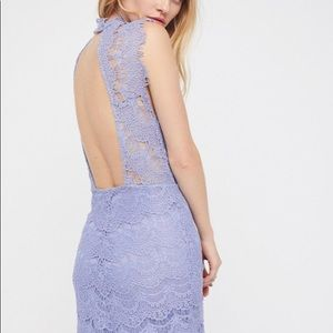 Free People Intimately Blue Lace High Neck Dress